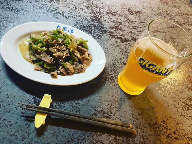 ビールと肉野菜炒め